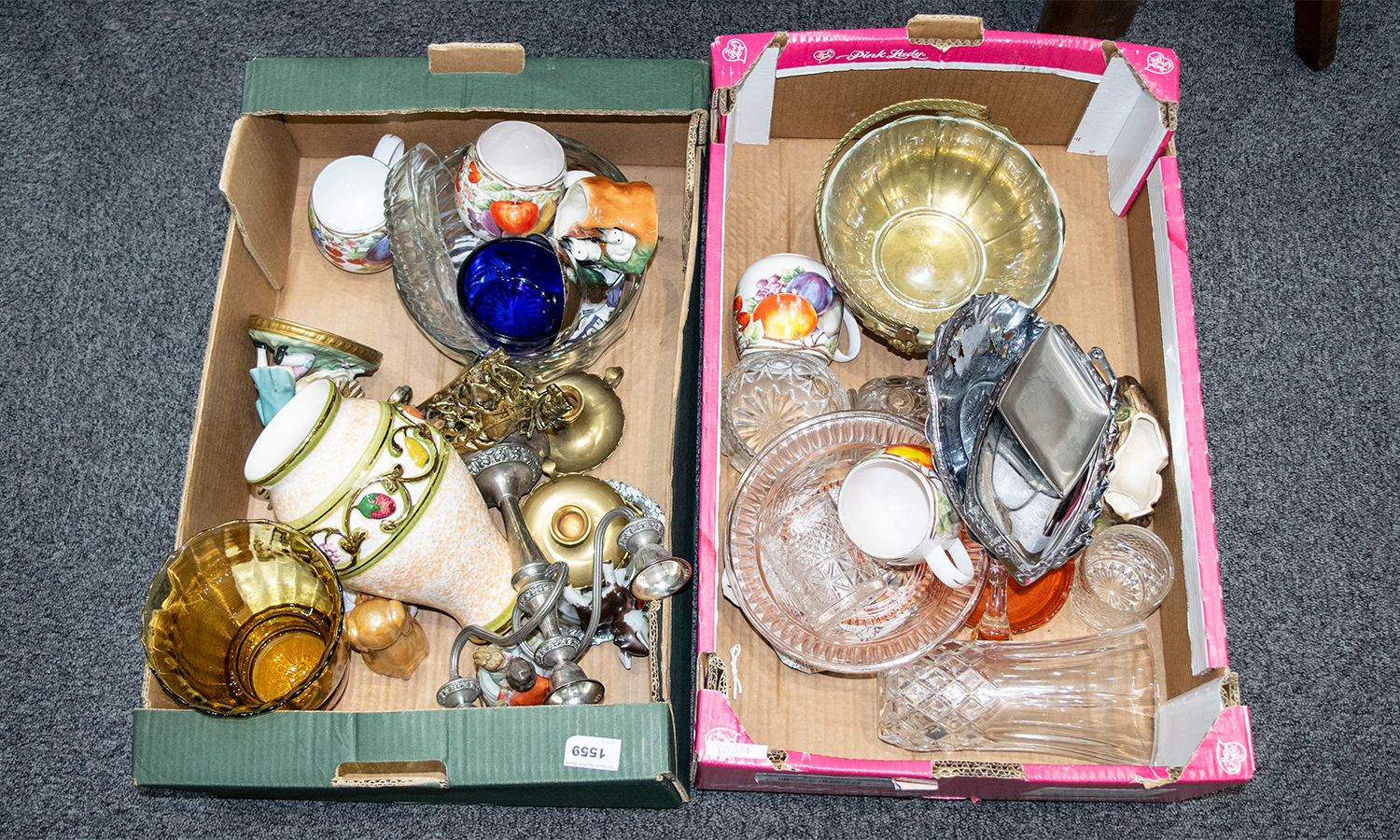 Lot 1559 - Two Boxes of Assorted Pottery and Glass