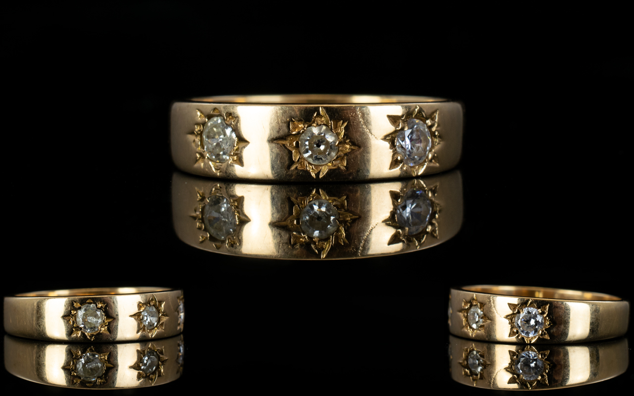 Lot 153 - 18ct Gold 3 Stone Pave Set Diamond Ring.