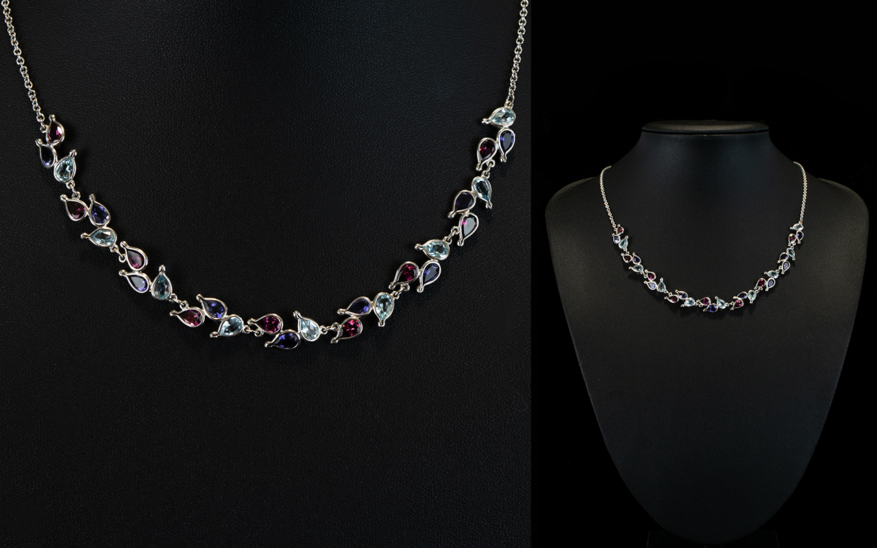 Lot 134 - An 18ct White Gold Collarette Necklace S