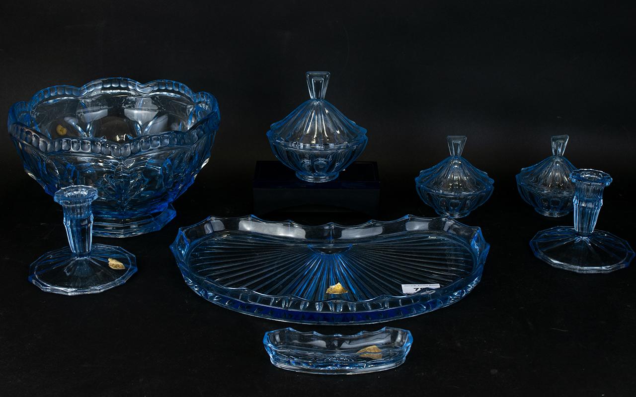 Lot 753 - Bohemia Glass Dressing Table Set Compris