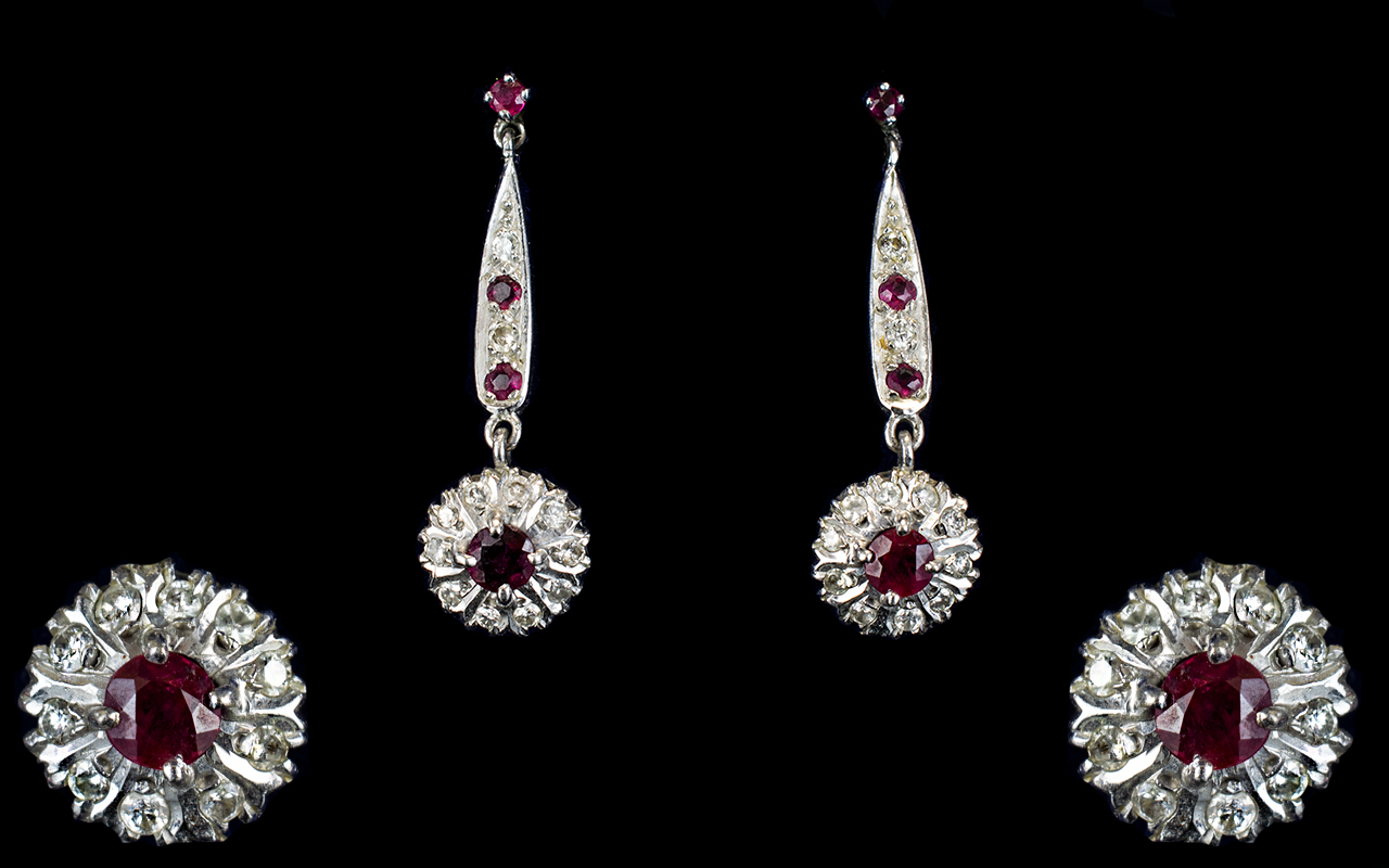 Lot 156 - 18ct White Gold - Nice Quality Ruby and