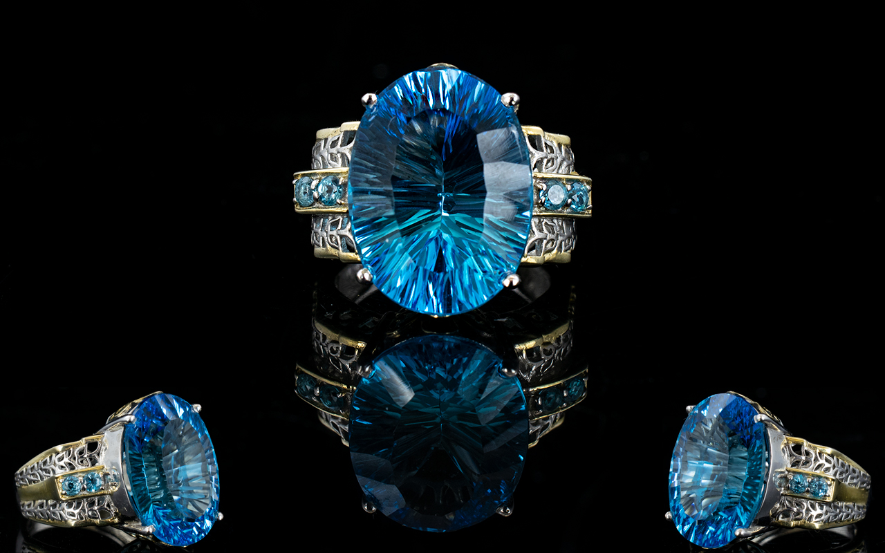 Lot 143 - Swiss Blue Topaz Statement Ring, a large