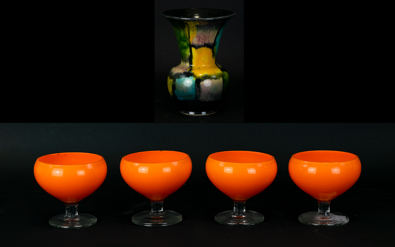 Lot 775 - Set of ( 4 ) Retro Opaque Orange Glasses