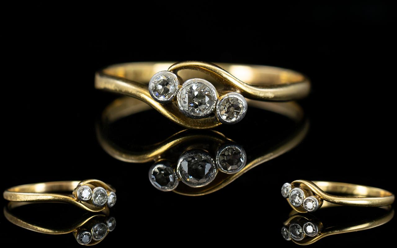 Antique Period 18ct Gold 3 Stone Diamond