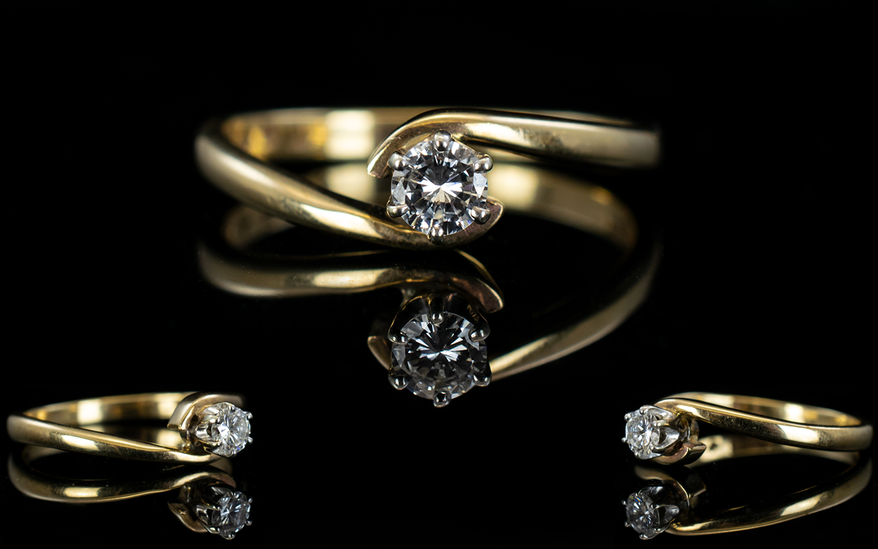 Ladies 9ct Gold Single Stone Diamond Rin