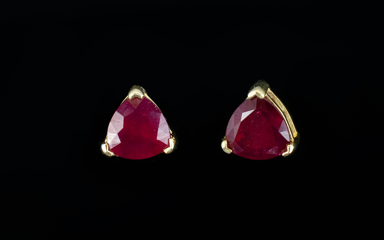 Ruby Trillion Stud Earrings, 5cts of ric