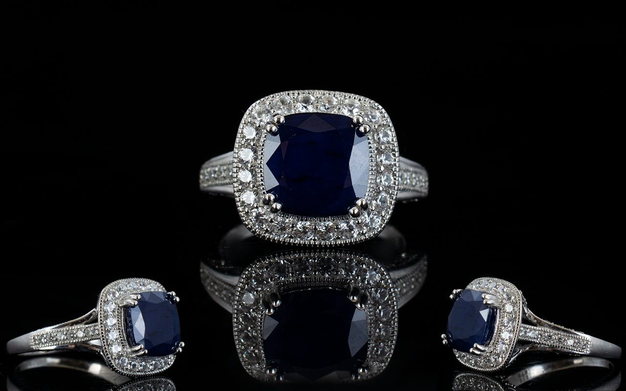 Sapphire and Natural White Zircon Ring,