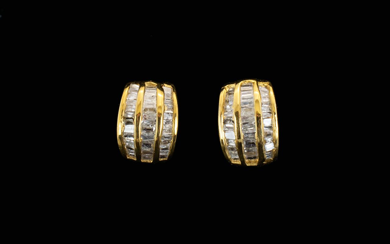 Lot 139 - Diamond Three Row Curved Stud Earrings,