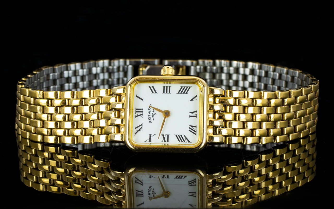Lot 167 - A Ladies Rotary Watch With brick link br