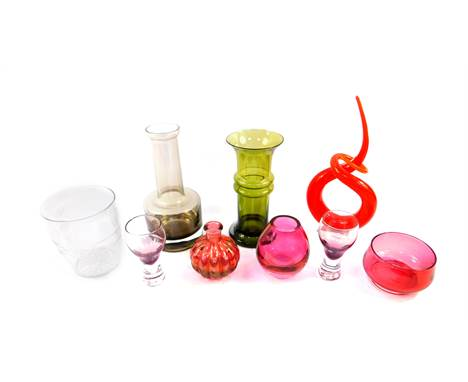 A Victorian cut glass tea mixing bowl, cranberry glass bowl, and assorted 20thC glassware including a glass sculpture, carafe