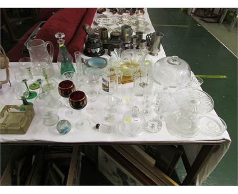 MIXED GLASS WARE INCLUDING DRINKING VESSELS, STOPPER DECANTERS, LIDDED SERVING PLATTER, PAPER WEIGHT ETC