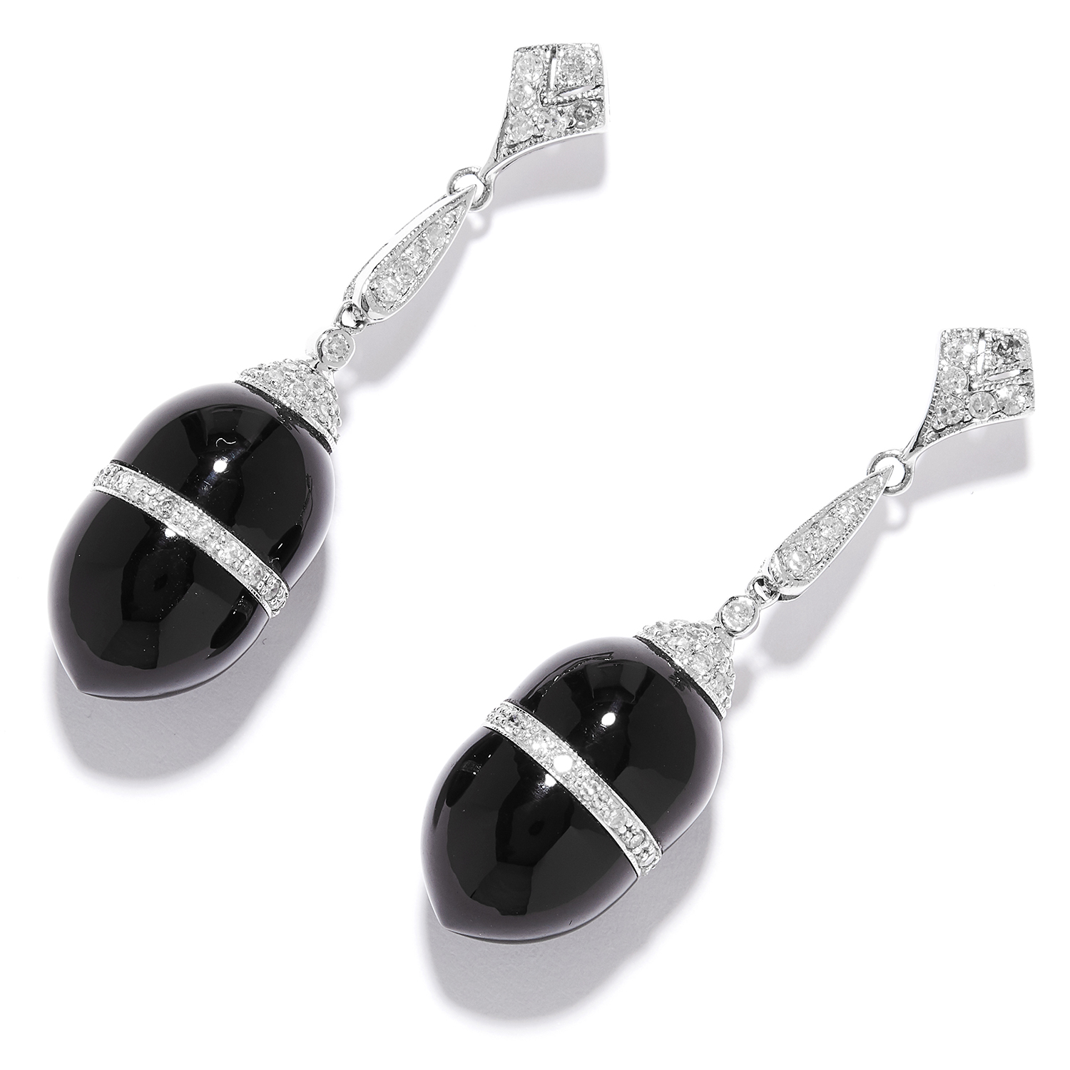 ONYX AND DIAMOND EARRINGS in platinum or white gold, the polished onyx with a central band of