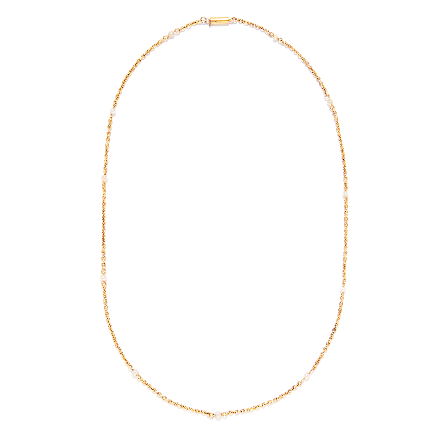 AN ANTIQUE PEARL NECKLACE in high carat yellow gold, set with eleven pearls on a gold chain,