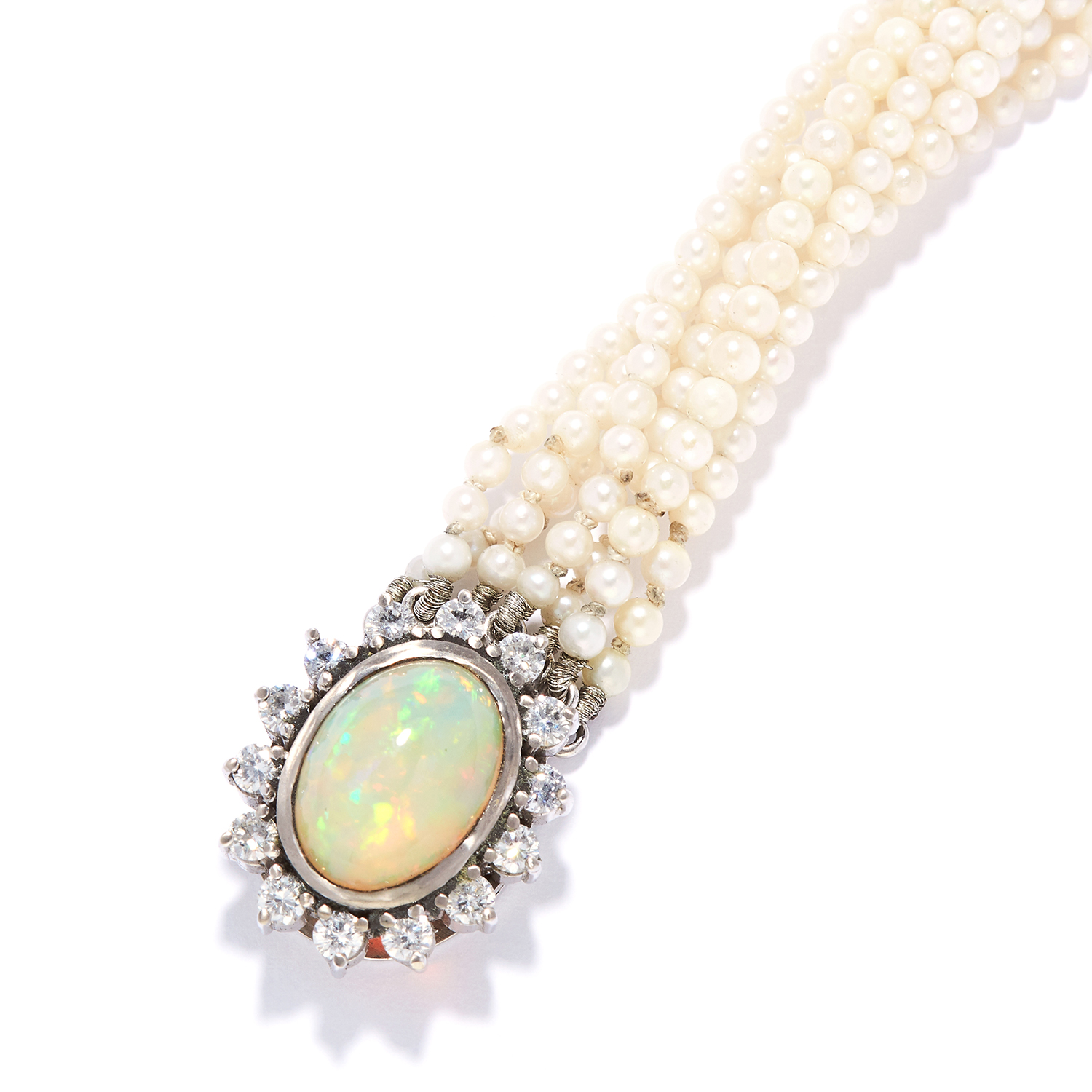 PEARL, OPAL AND DIAMOND BRACELET in white gold or platinum, comprising of seven rows of pearls - Bild 2 aus 2