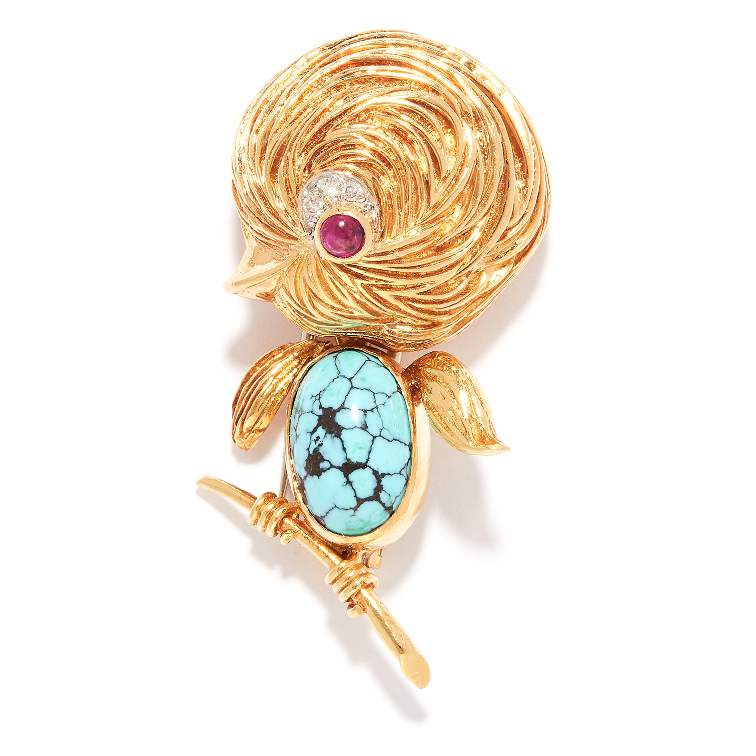 VINTAGE TURQUOISE, RUBY AND DIAMOND BIRD BROOCH, VAN CLEEF & ARPELS in 18ct yellow gold, set with