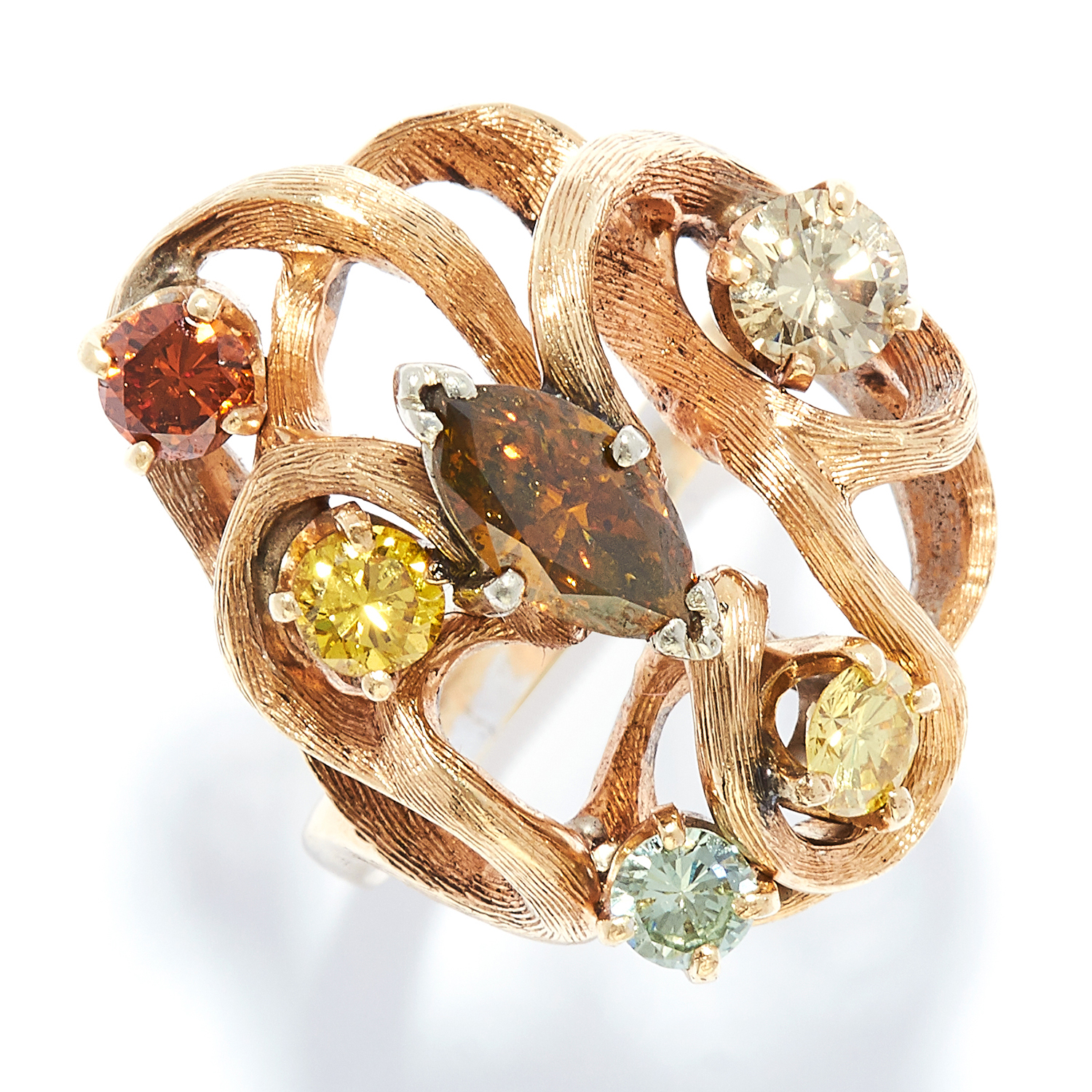 FANCY COLOUR DIAMOND RING in yellow gold, set with six marquise and round cut fancy colour