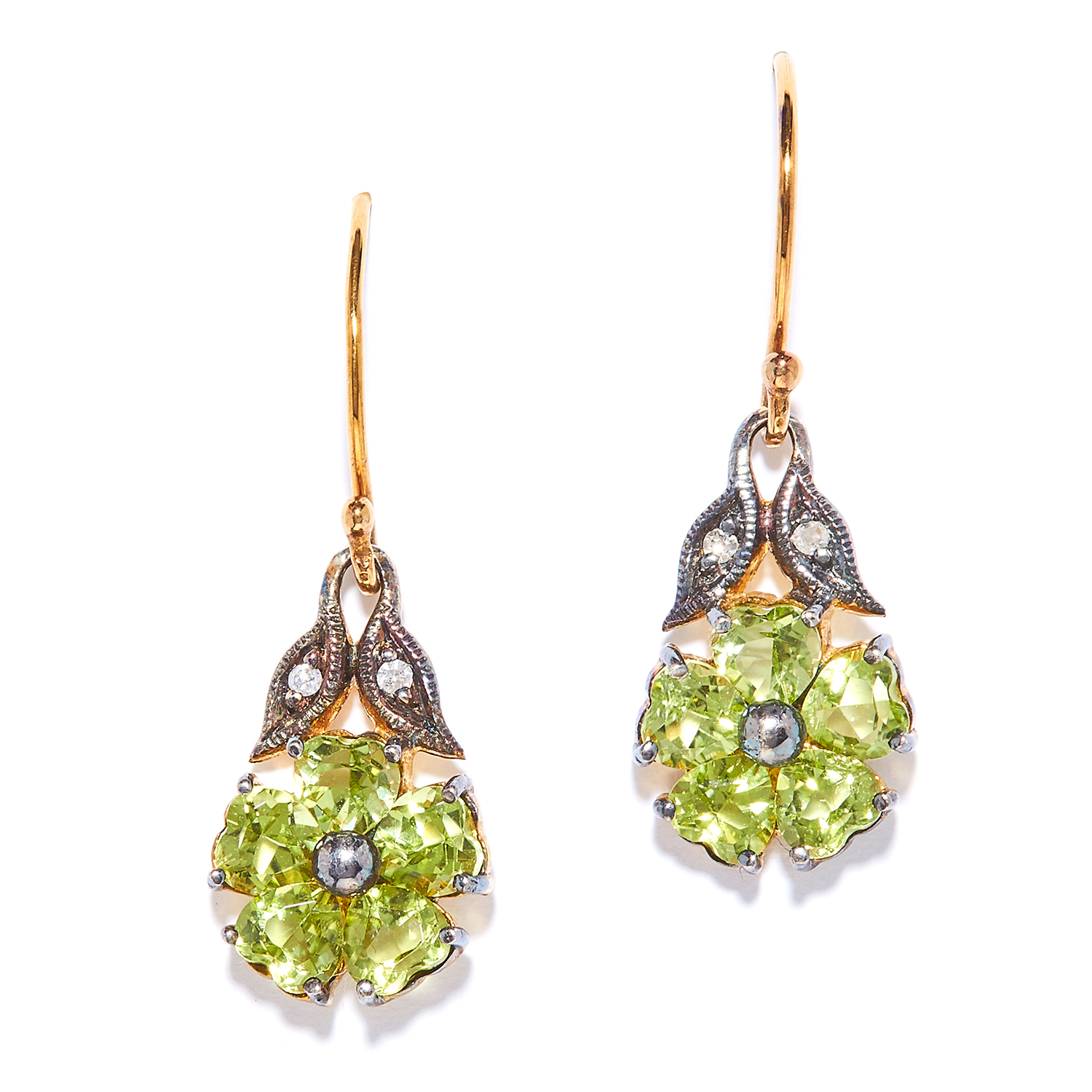PERIDOT AND DIAMOND EARRINGS the flower design set with peridot below diamond accents, unmarked, 2.