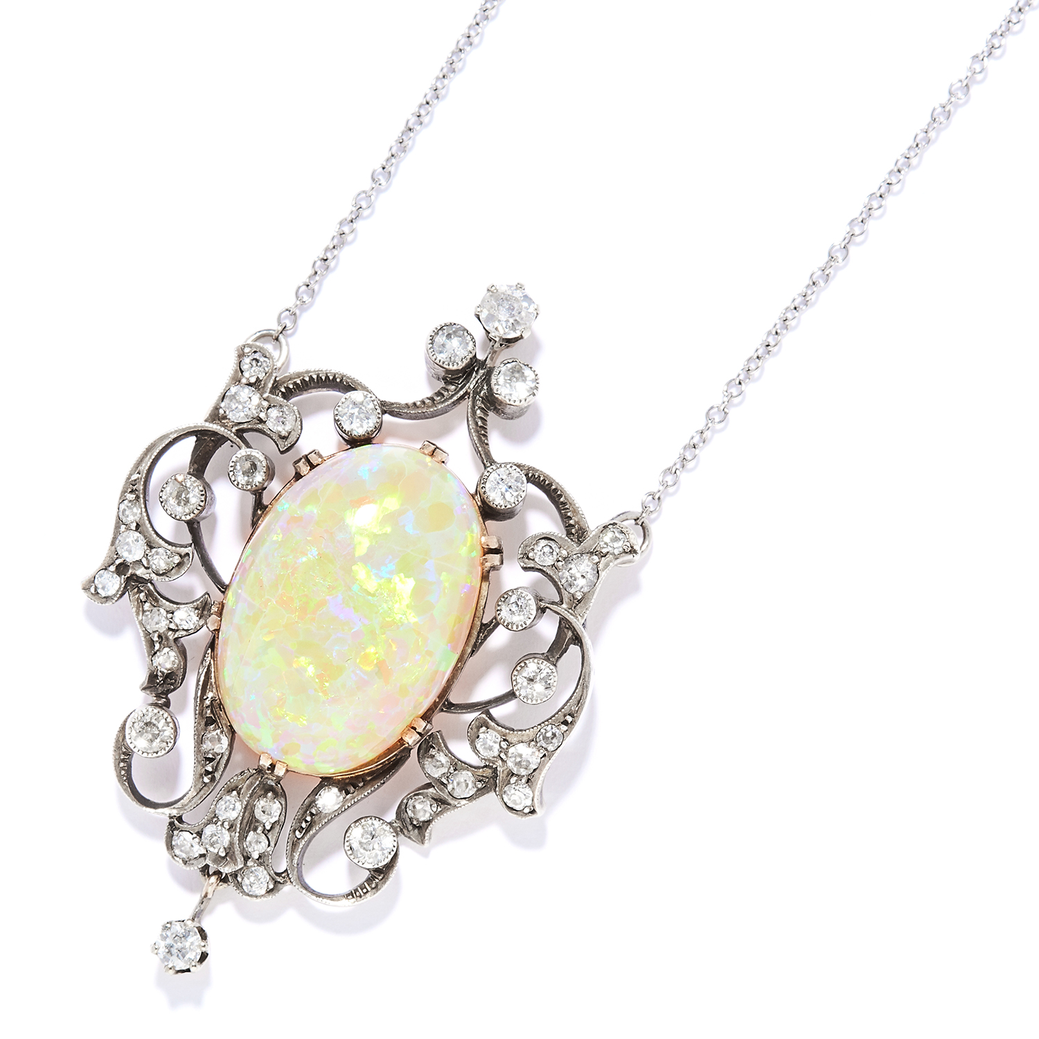 ANTIQUE OPAL AND DIAMOND PENDANT NECKLACE in yellow gold and silver, the oval cabochon opal of 18.56