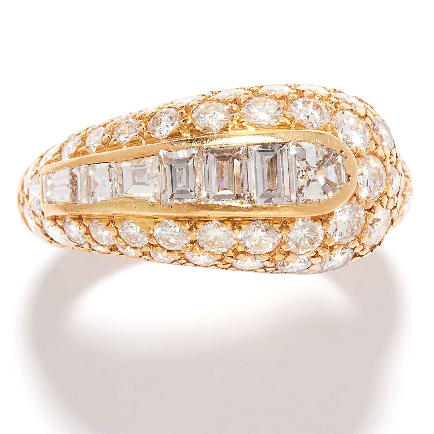 VINTAGE DIAMOND DRESS RING, BOUCHERON in 18ct yellow gold, the graduated, coiled band jewelled