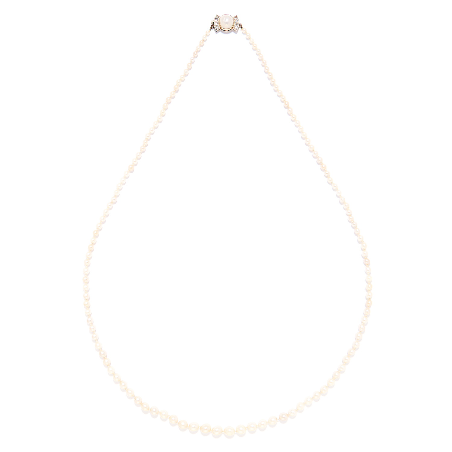 A PEARL AND DIAMOND NECKLACE in yellow gold, comprising of a single row of 127 pearls,with pearl and