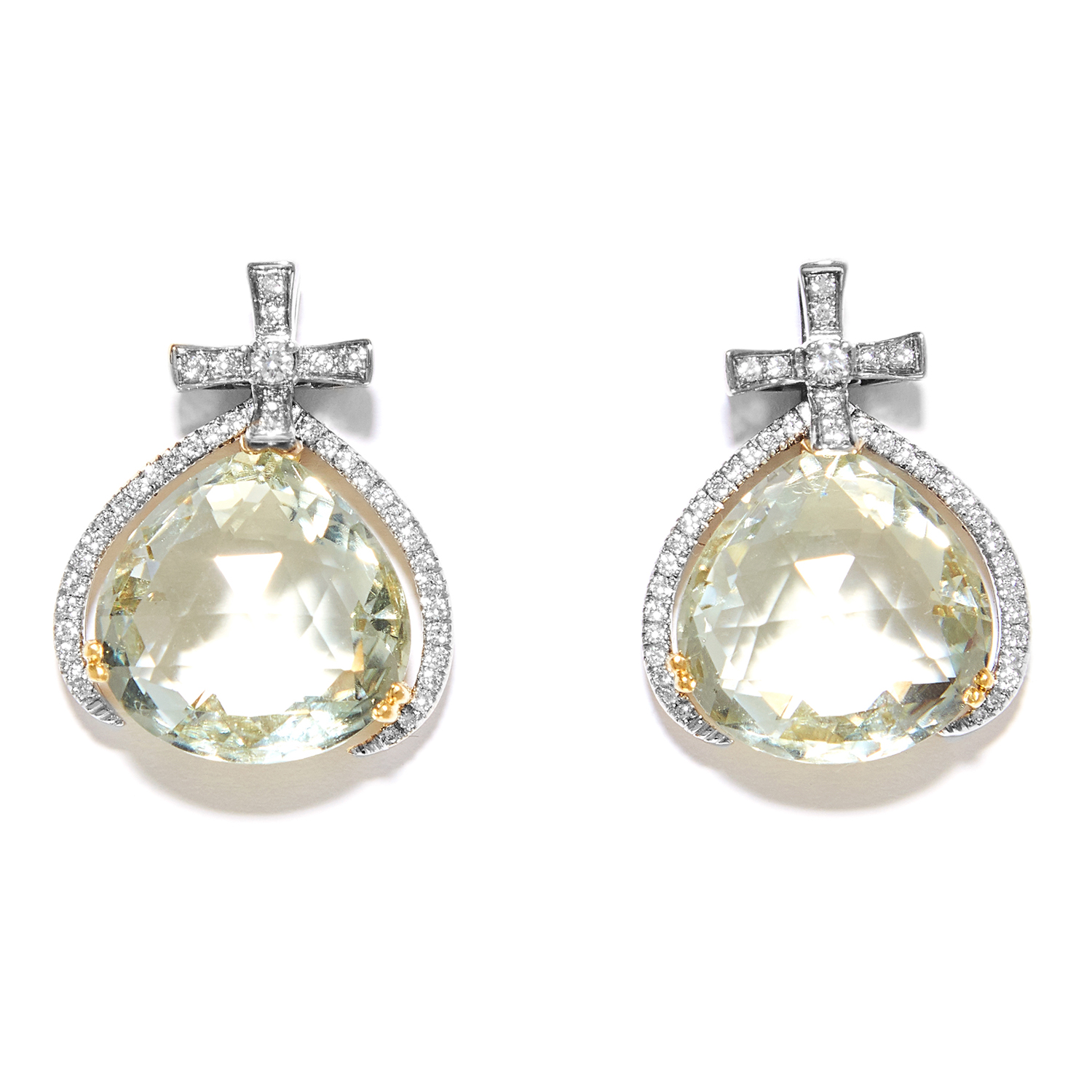 GREEN AMETHYST AND DIAMOND EARRINGS in 18ct white and yellow gold, the pear shaped green amethyst