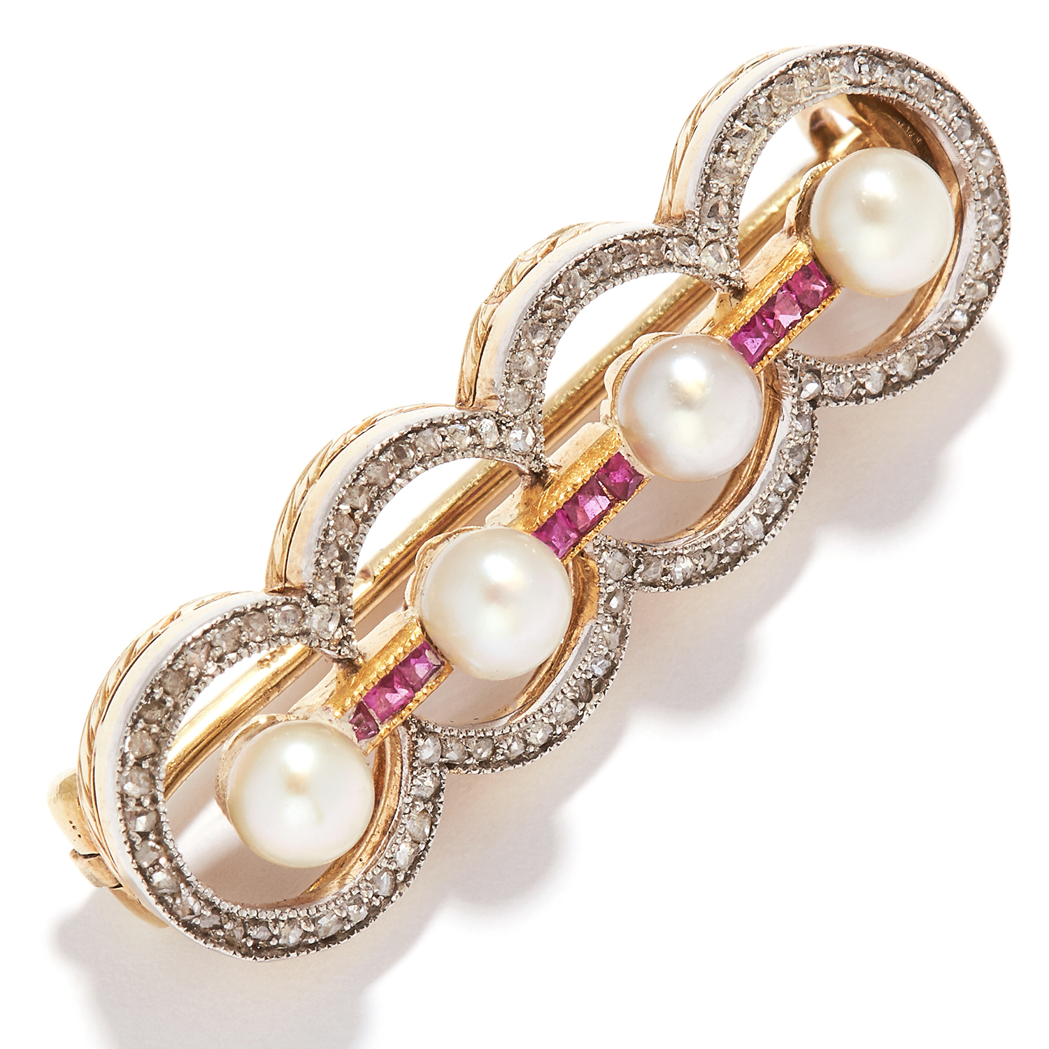ANTIQUE IMPERIAL RUSSIAN PEARL, RUBY AND DIAMOND BROOCH, CIRCA 1910 in 56 zolotnik gold, set with