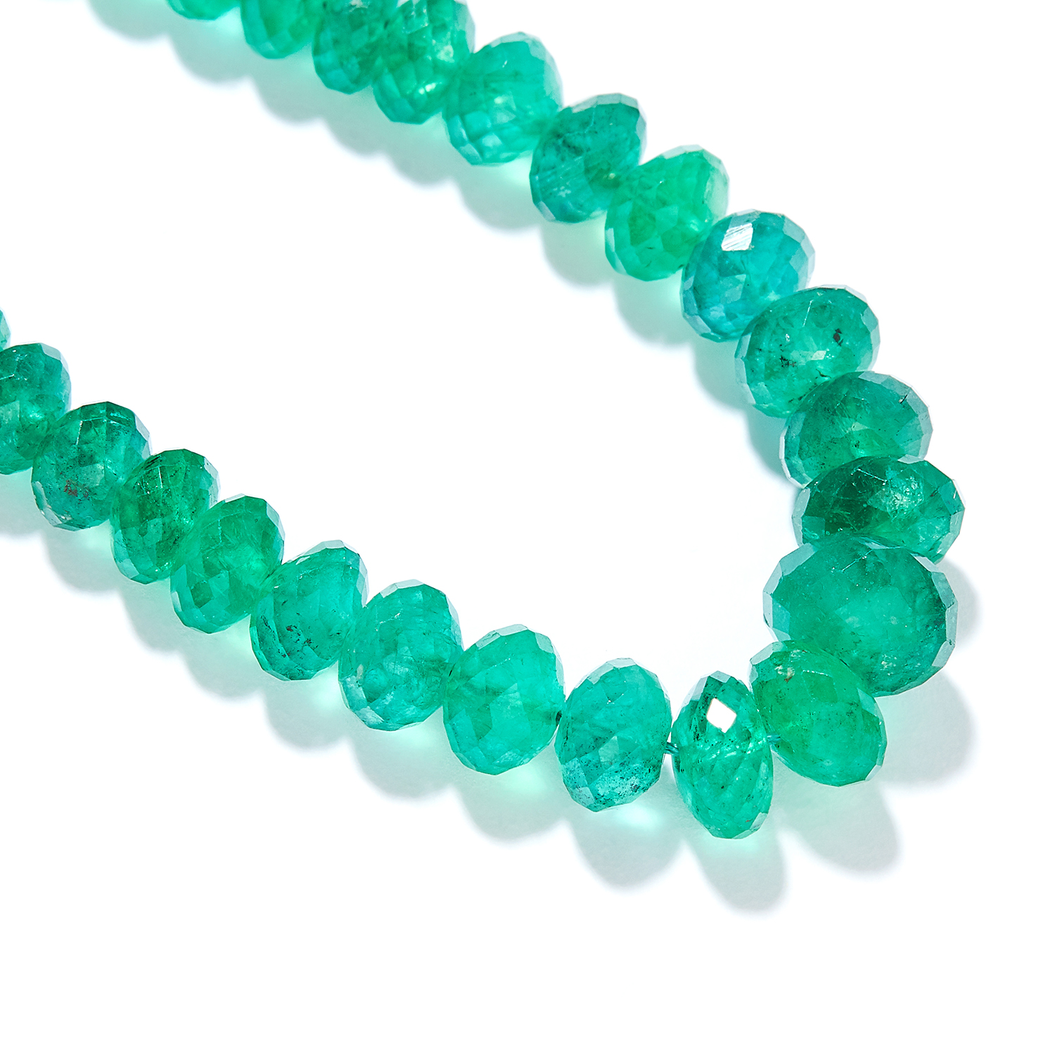 EMERALD BEAD AND DIAMOND NECKLACE in 18ct yellow gold, comprising a row of one hundred and sixteen - Image 2 of 2