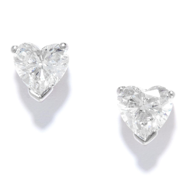 1.50 CARAT DIAMOND HEART STUD EARRINGS in platinum, set with heart cut diamonds totalling
