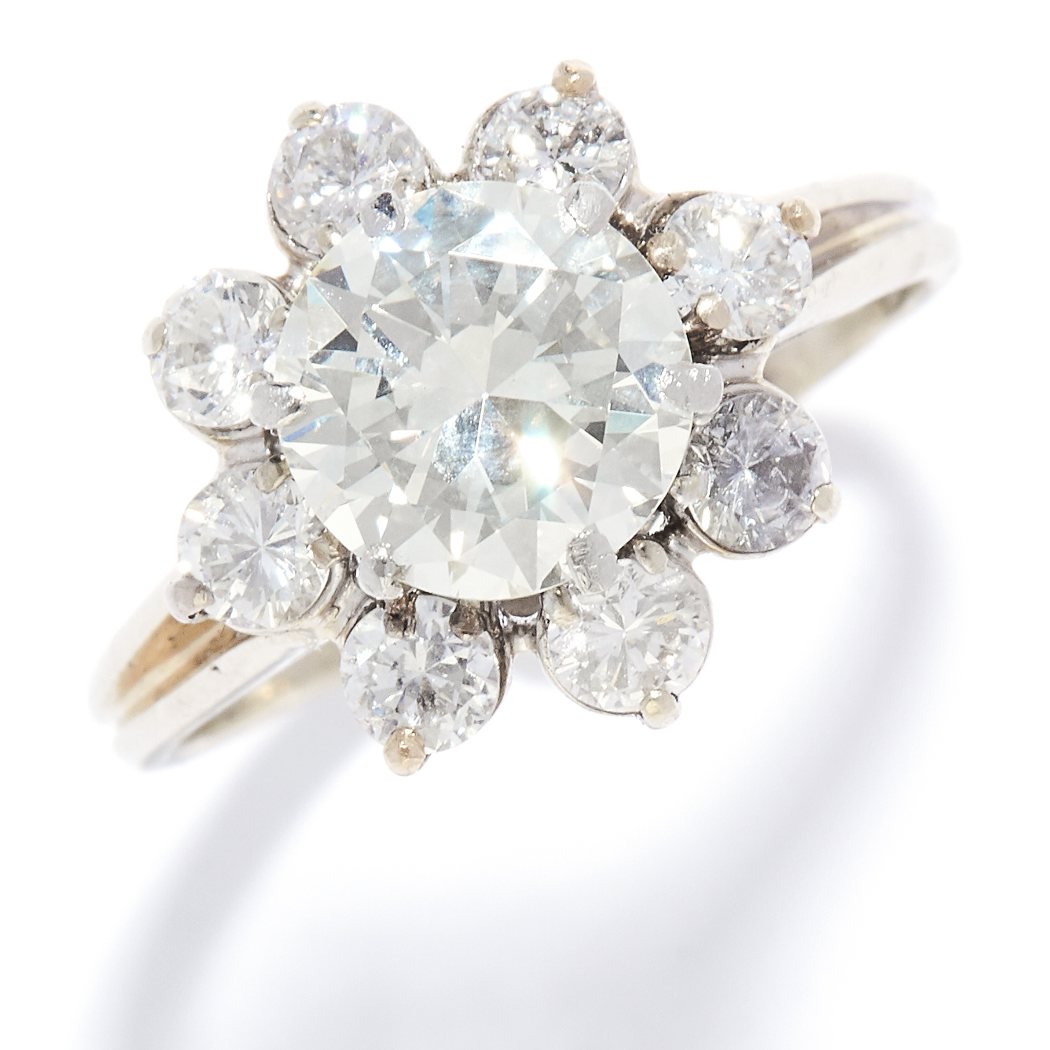 2.31 CARAT DIAMOND CLUSTER RING in platinum or white gold, the central round cut diamond of 1.67