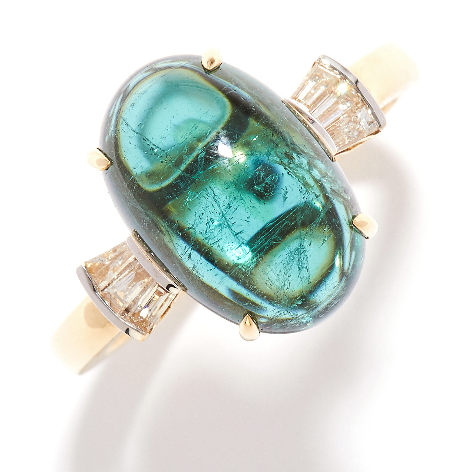 6.20 CARAT TOURMALINE AND DIAMOND DRESS RING in 18ct yellow gold, set with a 6.20 carat cabochon