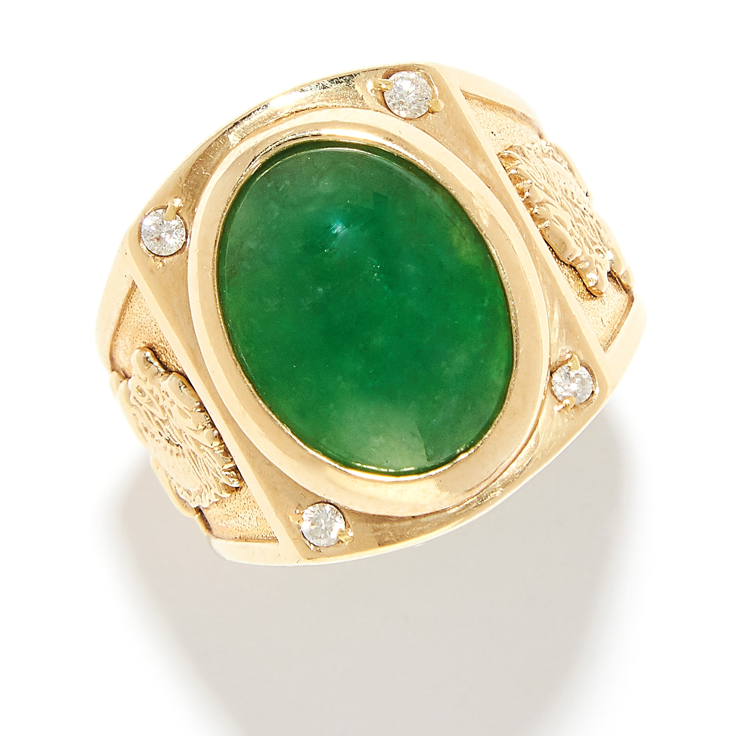 Los 281 - CHINESE JADEITE JADE RING in 24ct yellow gold, set with a polished jade cabochon, Chinese marks,