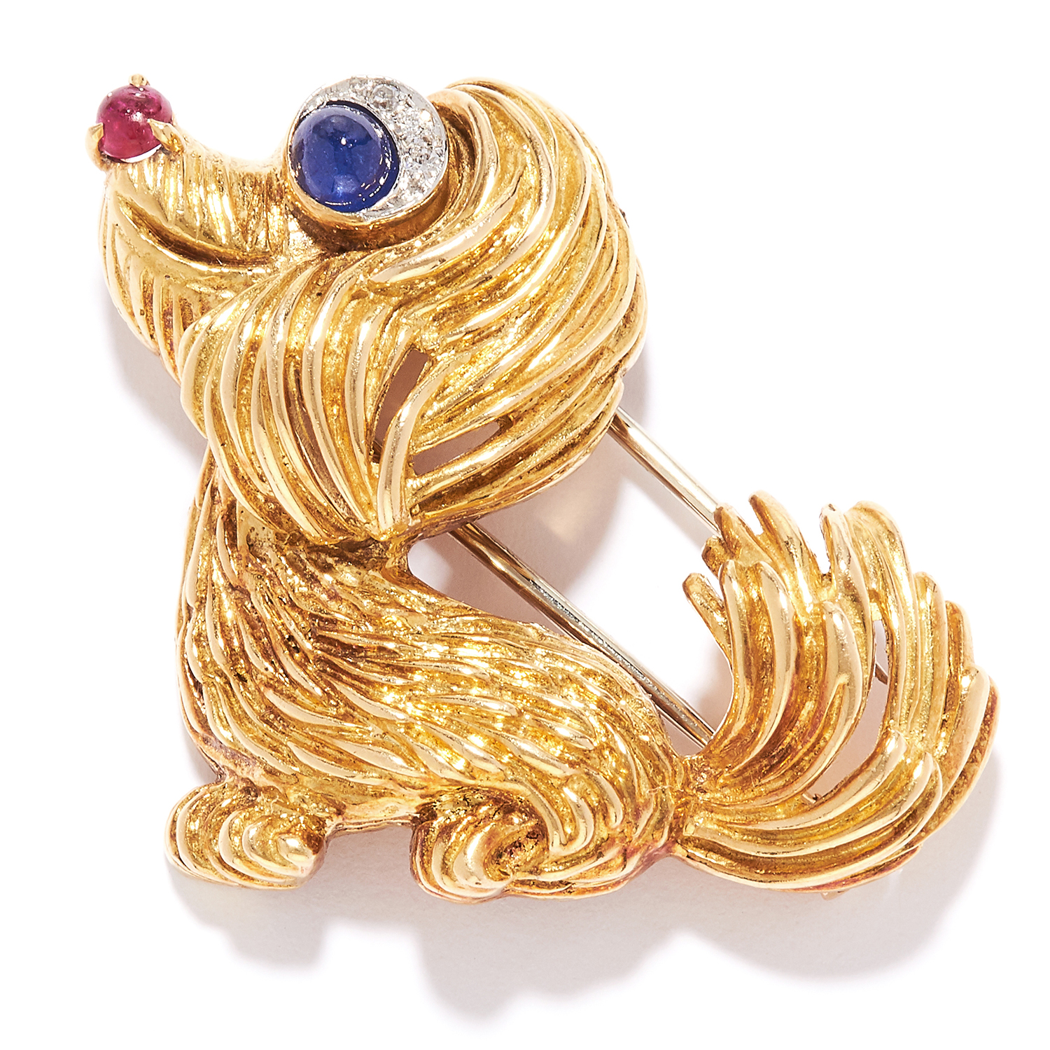 RUBY, SAPPHIRE AND DIAMOND NOVELTY DOG BROOCH in high carat yellow gold, depicting a dog, set with a