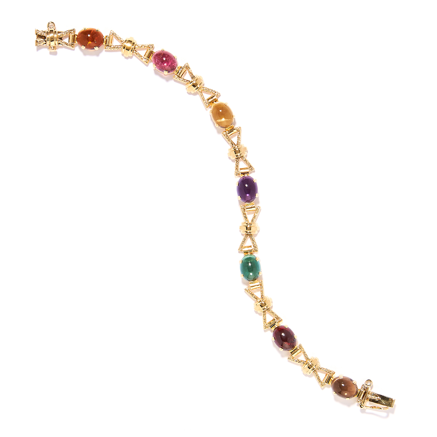 A GEMSET FANCY LINK BRACELET in yellow gold, set with various cabochon gems including amethyst,