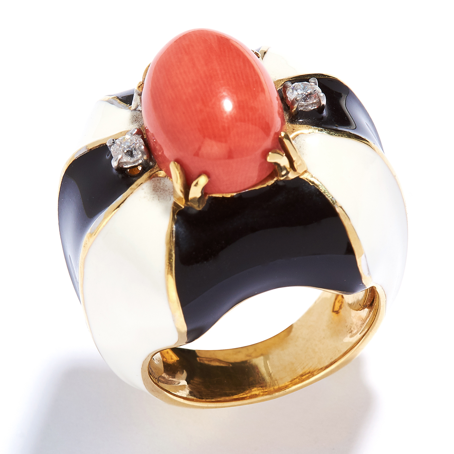 CORAL, DIAMOND AND ENAMEL RING in 18ct yellow gold, the oval coral cabochon within a border of