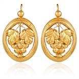 A PAIR OF ANTIQUE EARRINGS, 19TH CENTURY in high carat yellow gold, each of circular form with