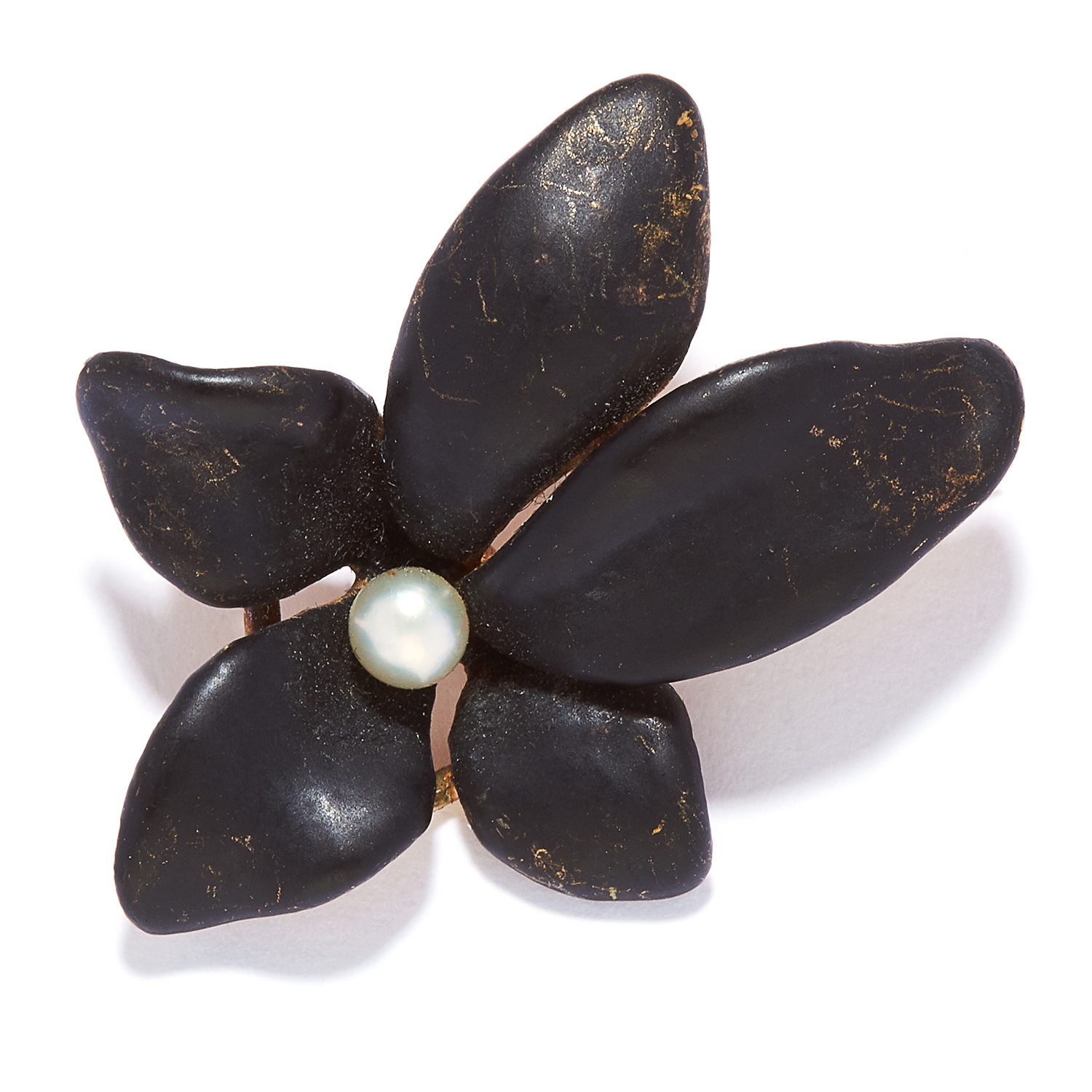 ANTIQUE PEARL AND ENAMEL FLOWER BROOCH in 14ct yellow gold, comprising of black enamel leaves and