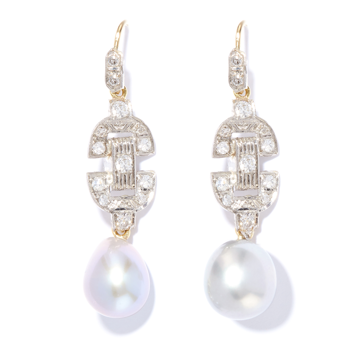 ART DECO PEARL AND DIAMOND DROP EARRINGS in platinum and yellow gold, each suspending a pearl