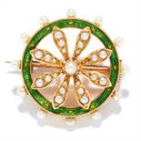 ANTIQUE PEARL AND ENAMEL BROOCH in 15ct yellow gold, in circular foliate motif, set with green