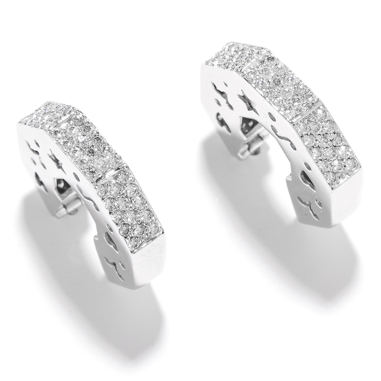 DIAMOND OCTAGONAL HOOP EARRINGS in 18ct white gold, in octagonal hoop form set with round cut
