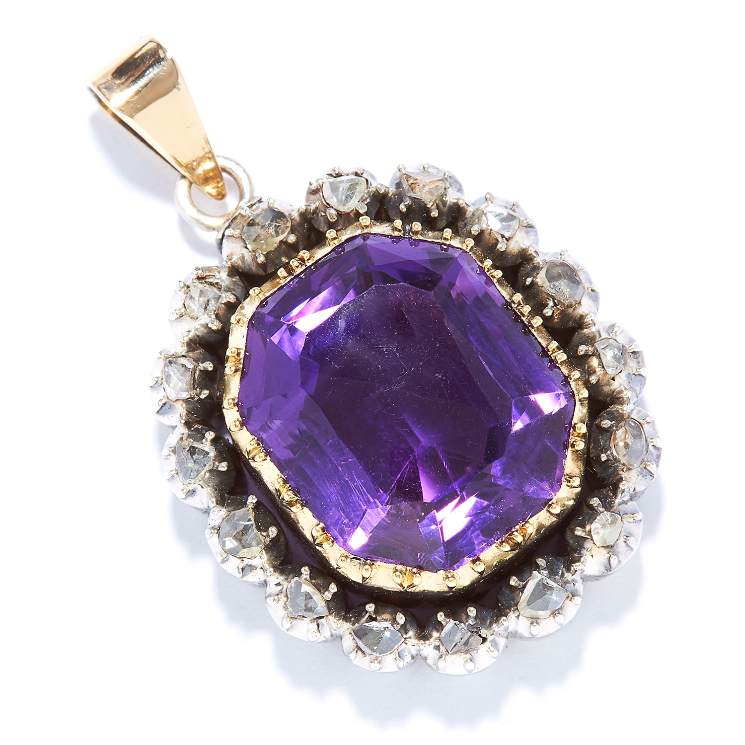 ANTIQUE AMETHYST AND DIAMOND PENDANT in gold, set with an emerald cut amethyst and rose cut
