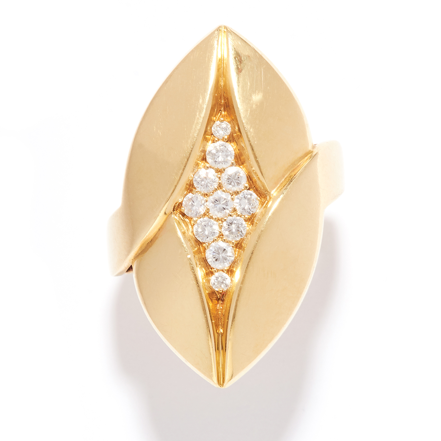 DIAMOND DRESS RING, BULGARI in 18ct yellow gold, the foliate navette face jewelled with round cut