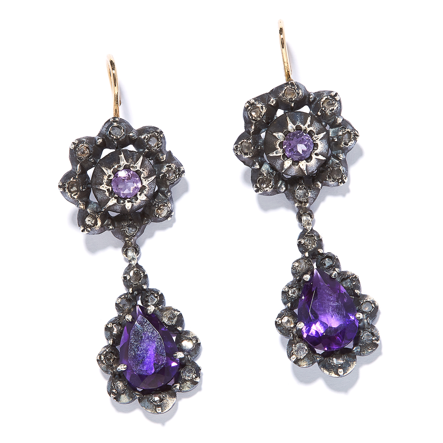 AMETHYST AND DIAMOND EARRINGS the articulated bodies with amethysts encircled by rose cut