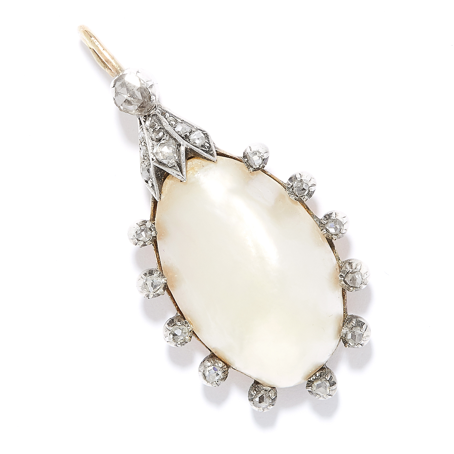 ANTIQUE PEARL AND DIAMOND PENDANT in high carat gold, set with a large pearl in border of rose cut