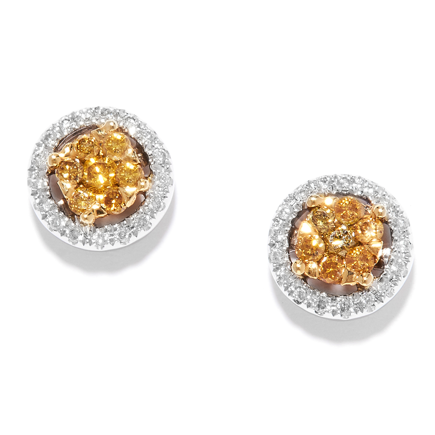 YELLOW AND WHITE DIAMOND STUD EARRINGS in 18ct gold, set with clusters of yellow diamonds within