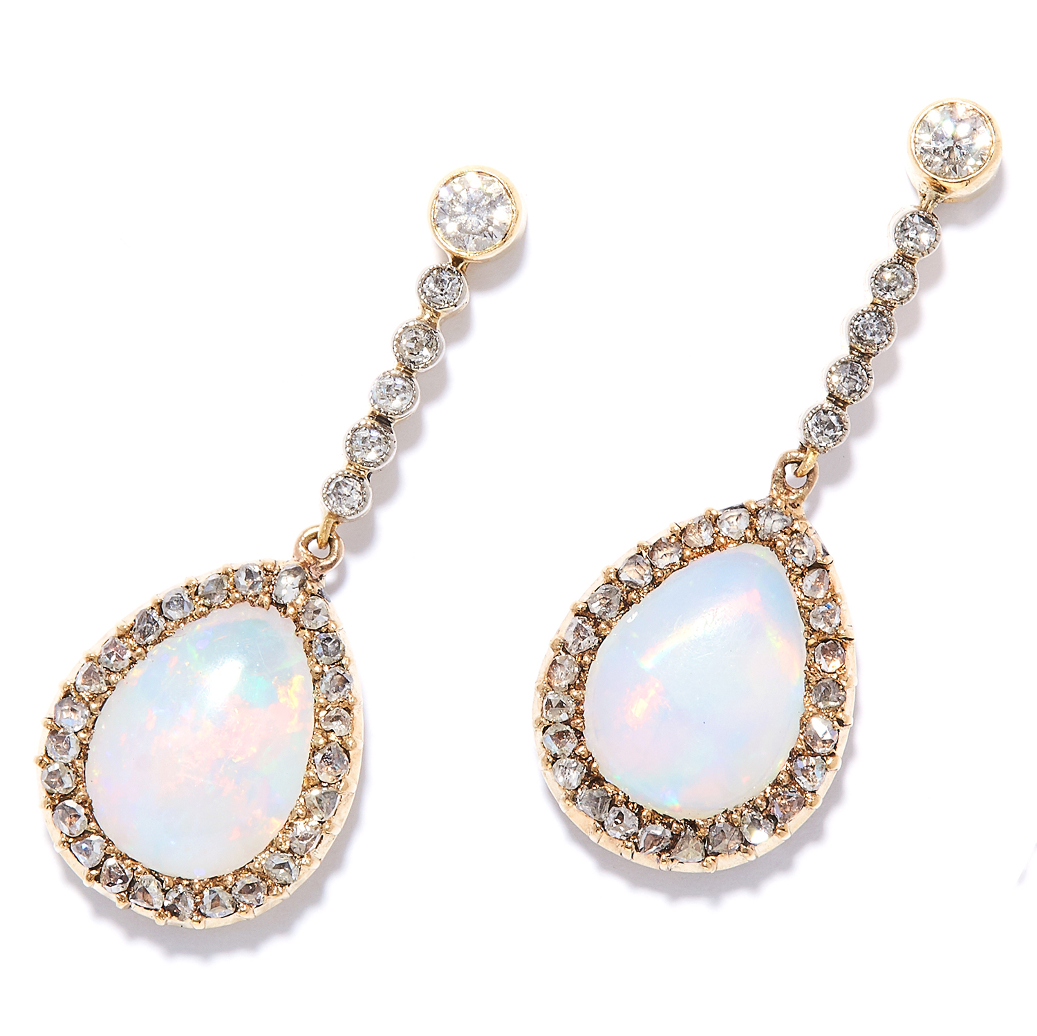 OPAL AND DIAMOND CLUSTER EARRINGS in high carat yellow gold, each set with a row of round cut