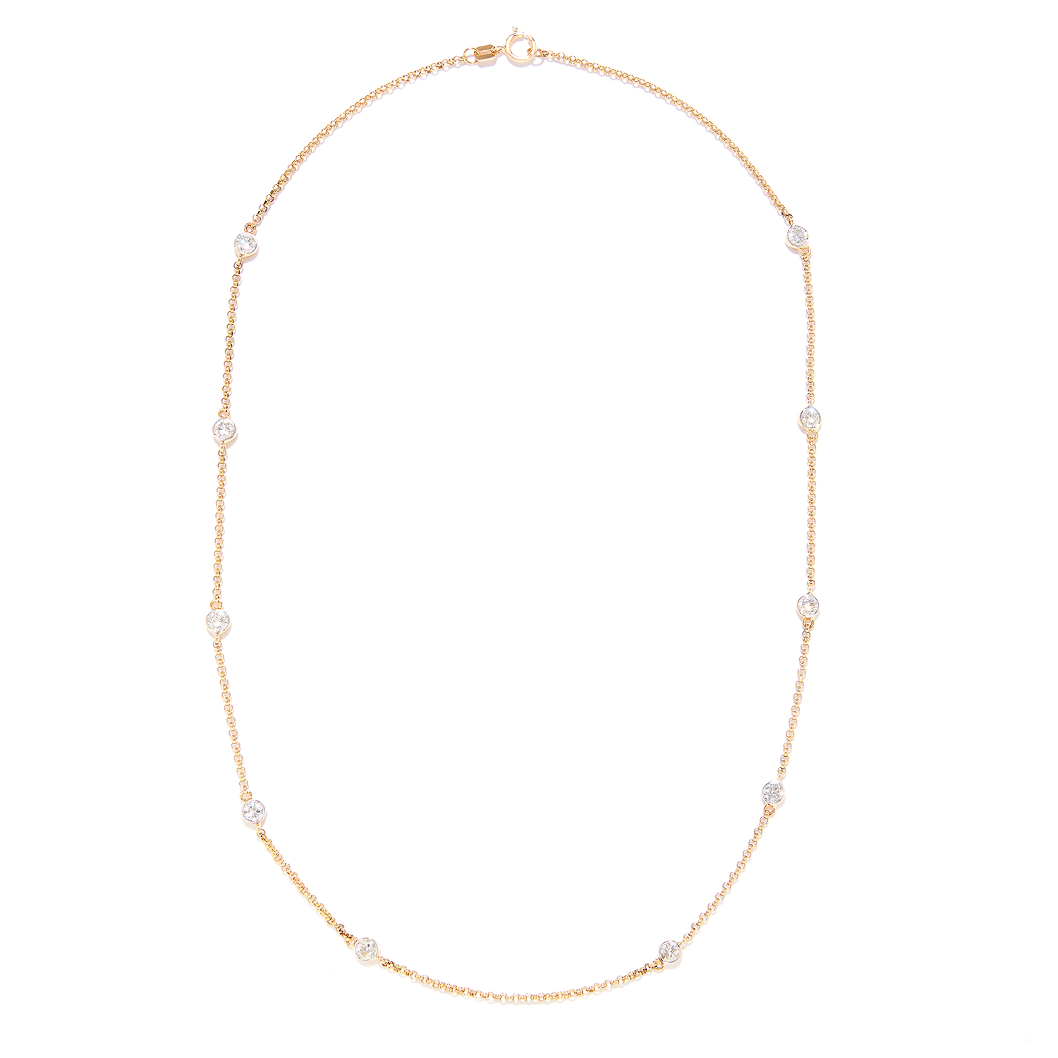 Los 56 - 1.75 CARAT DIAMOND CHAIN NECKLACE in 18ct yellow gold, set with ten round cut diamonds totalling