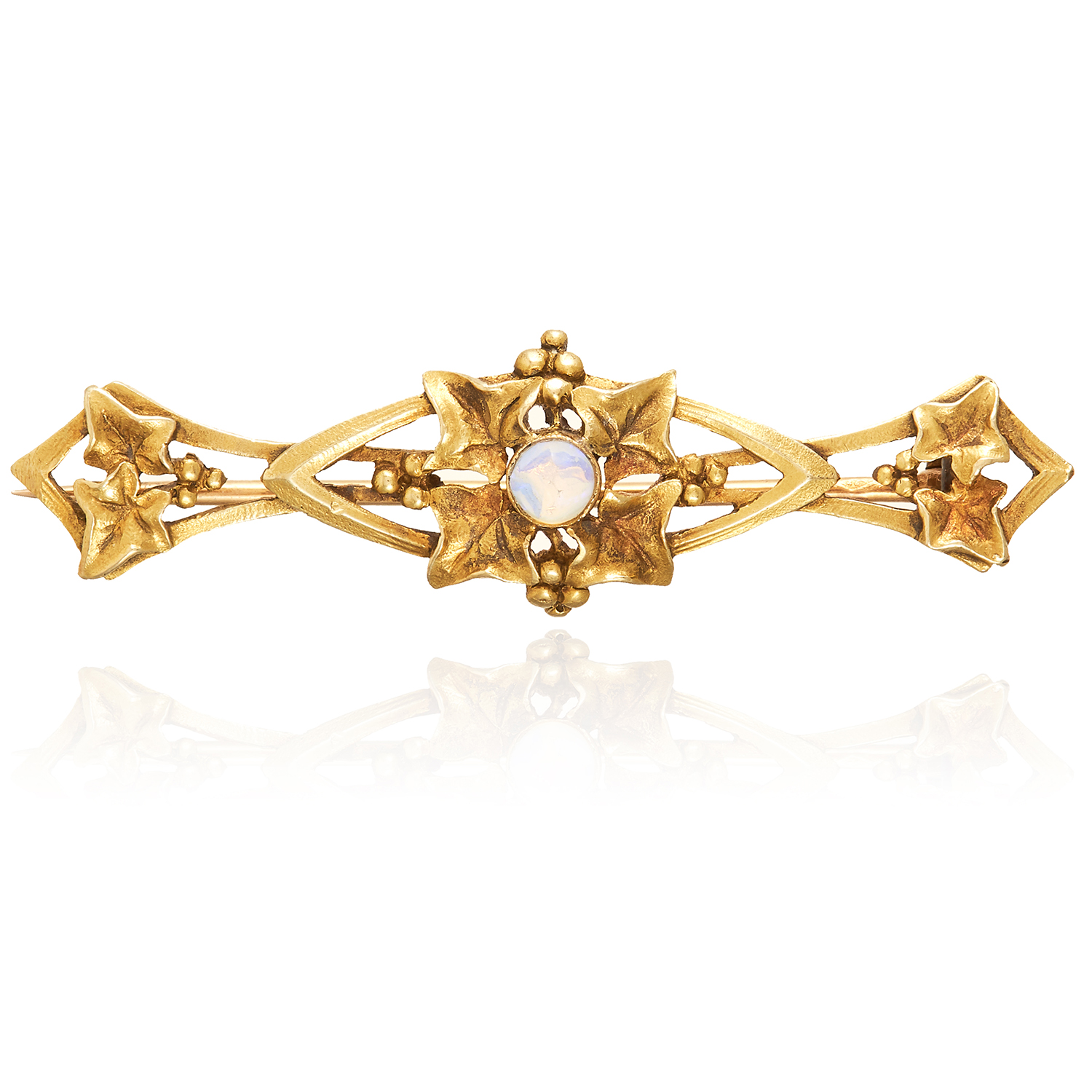 AN OPAL BAR BROOCH, FRENCH in high carat yellow gold, in Art Nouveau design set with a cabochon