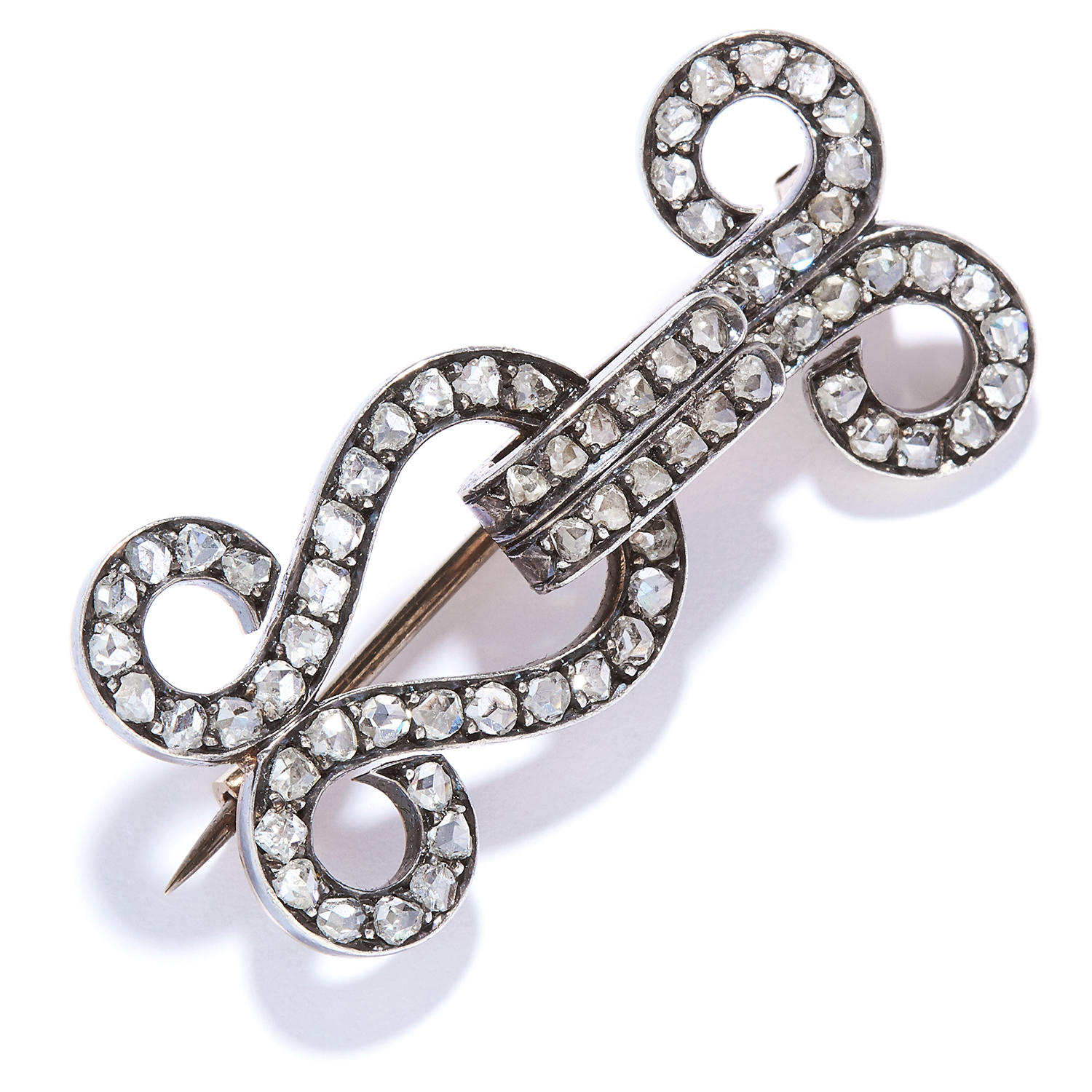 Los 38 - ANTIQUE HOOK AND EYE DIAMOND BROOCH in yellow gold, in hook and eye design, of Sewing interest,