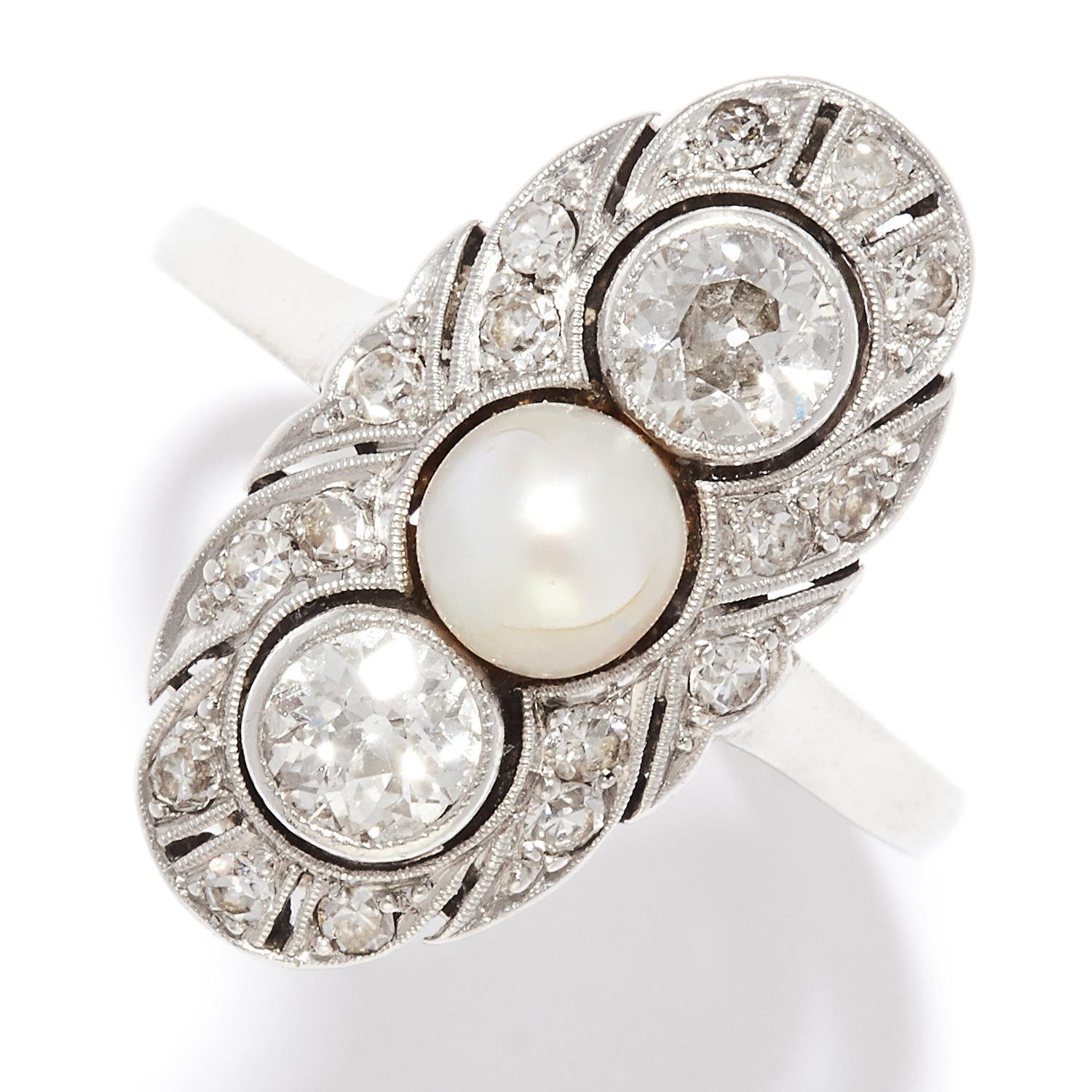 ANTIQUE DIAMOND AND PEARL DRESS RING in 14ct yellow gold, in Art Deco design, set with a pearl and