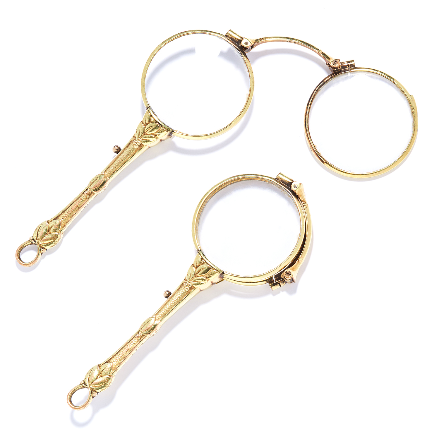 ART NOUVEAU LORGNETTE / FOLDING SPECTACLES, FRENCH with floral motifs, unmarked, 11cm, 23.9g.